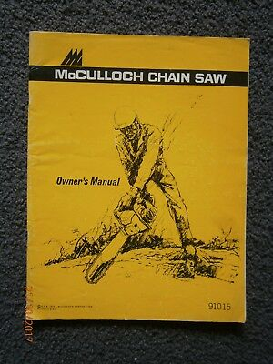1975 McCulloch 91015 Chainsaw Owner's Manual