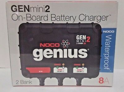 NEW NOCO Genius GENM2 8 Amp 2-Bank Smart On-Board Battery Charger Car Boat RV