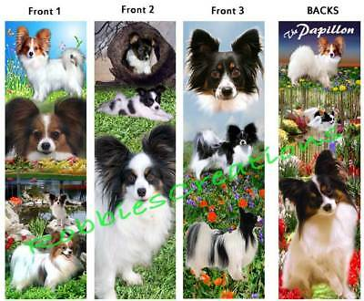 3 set-PAPILLON BOOKMARKS Sable White Black Dog Long Hair Chihuahua-ART Book Card