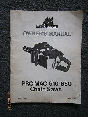 McCulloch Pro Mac 610/650 Chainsaw Owner's Manual 93488-R9