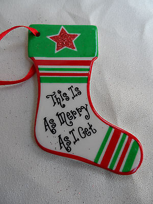 This is Merry as I get Stocking with Green & Red Stripes Christmas Ornament new
