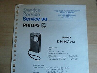 Doc. technique Philips Radio D1030 /19/19B