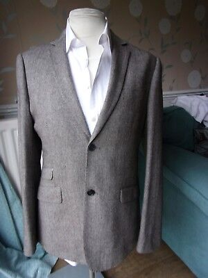 Mens Herringbone Weave Tweed Jacket with elbow patches and Ticket Pocket 42 R