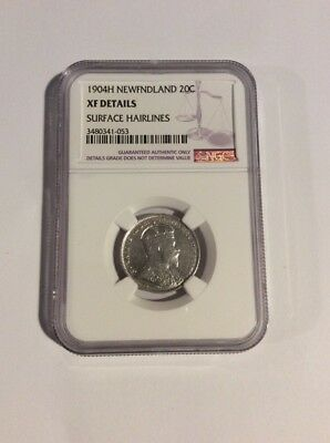 1904 H New Foundland 20 Cents. NGC XF Details. Surface Hairlines.