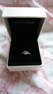 Brand New Genuine Silver PANDORA Sparkling Love Knot Ring 190997CZ RRP £50