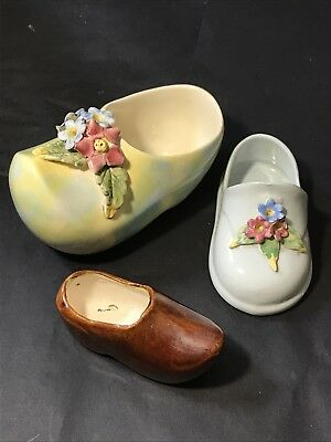 Vintage Australian Pottery CLOGS / BABY SHOE with Applied Flowers GALART? x 3