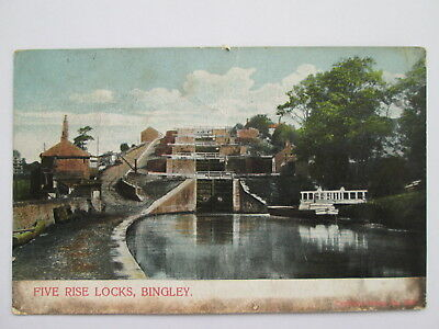 Vintage Postcard - Five Rise Locks , Bingley , Bradford , West Yorkshire .