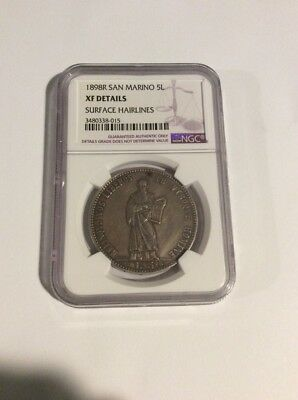 1898R San Marino 5L. NGC XF Details. Surface Hairlines