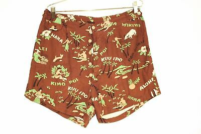 "Mens Vtg 1930s-40s Hawaiian Print Button Fly Swimsuit Swim Trunks Brown 34"" FAB!"