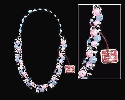 RARE Francois VTG Necklace Stunning Signed  Pastels Pinks  Blues Glass NWT 1940S