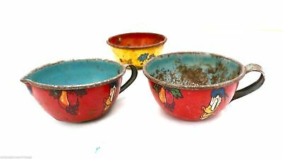 Vintage Ohio Art Tin Teacups Disney Donald Duck