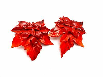 Vintage Clip Earrings Red Maple Leaves Large 1950s