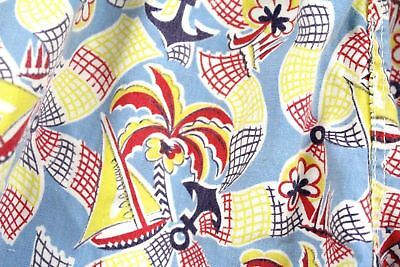 Vintage Boys Toddlers Swimming Trunks Shorts Bathing Suit  1940s Print Palm Tree