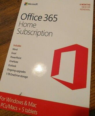 Microsoft Office 365 Home 6 Month Subscription - Digital Download