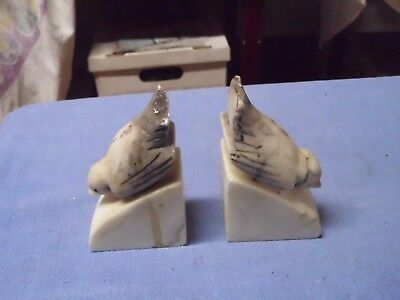 ANTIQUE Vintage ITALIAN MARBLE Carved Sparrow BOOKENDS / Italy