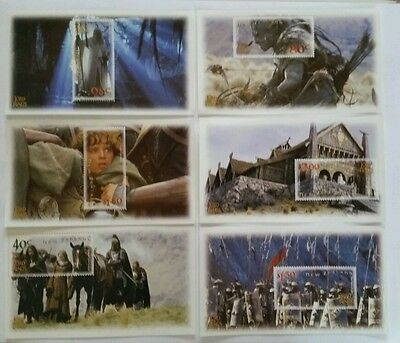 Set of 6 Mini Sheets NEW ZELAND 2002  Lord Of The Rings The Two Towers