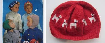 vintage girls beret hat pink red scottie dogs 40's pattern all wool new ages 2-9
