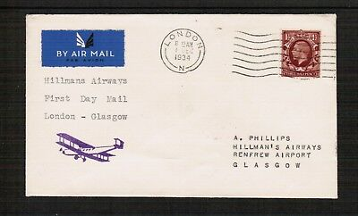1934 Hillman Airways 1st Flight Cover London to Glasgow