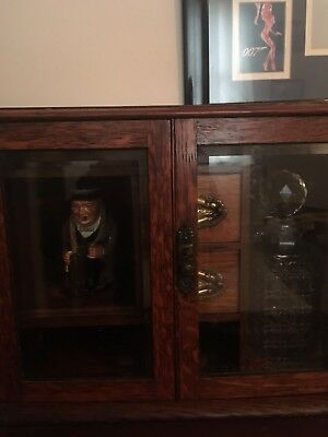 Edwardian Solid Oak Smokers Cabinet And Tantalus with cut crystal decanters