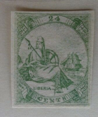 Liberia Old Stamps - Allegory - 24 Cents - 1860s Mint HR Facimile
