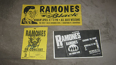 ramones flyers lot of 3 signed original punk clash sex pistols dickies damned
