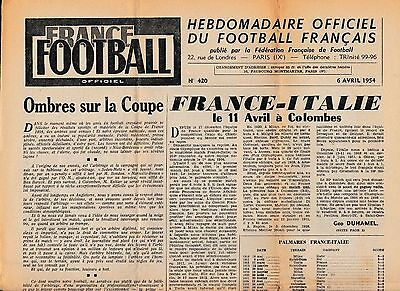 France Football Newpaper Issue 6 April 1954 Previews France Italy