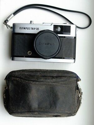 Vintage Olympus Trip 35 film camera - silver button dates to August 1976