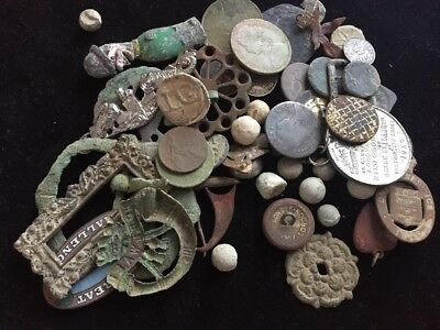 A Collection Of Metal Detector Finds. Coins, Buttons, Buckles Etc