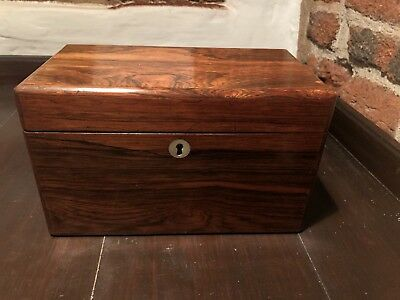 Victorian Rosewood Tea Caddy With Key