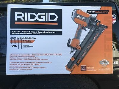 RIDGID R350RHF Framing Nailer Nail Gun Kit 21 Degree 3-1/2 Inch Round Head New