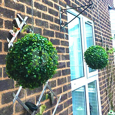 2 Artificial 23cm Grass Ball Plant Topiary Hanging Garland Garden Decoration GRE