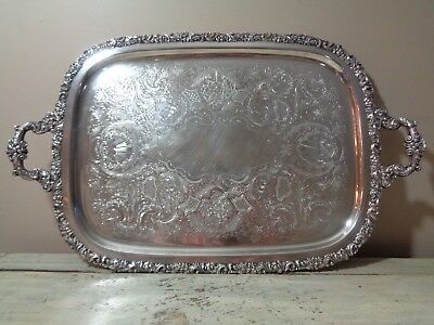 """International Silver Old English Reproduction 22 1/2"""" Silverplate Waiter Tray"""