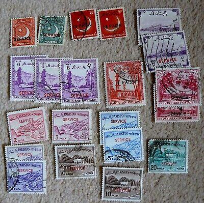 "20 Pakistan Postage Stamps,mostly Older. All ""service"" Overprints."
