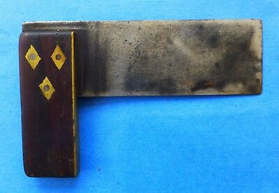 Vintage Rosewood Brass Edge Woodworking Square