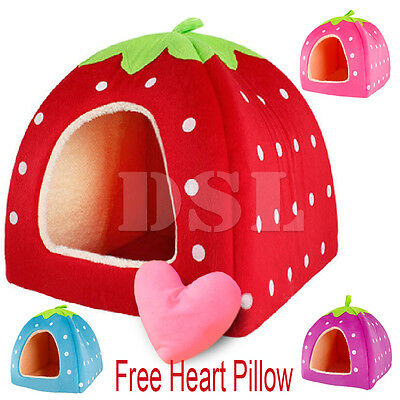 M Pink Soft Strawberry Pet Igloo Dog Cat Bed Doggy Fashion Cushion Basket + Gift