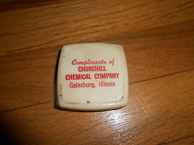 Antique Tape Measure Advertising Churchill Chemical Company Galesburg Illinois