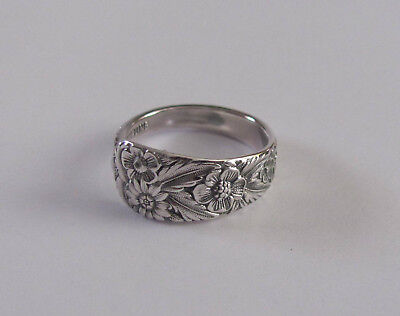 Sterling Silver Spoon Ring - International / Radiant Rose - size 8 1/2 - c. 1938