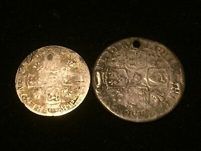 Two Queen Anne Coins Sixpence And Shilling