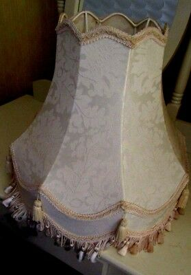Large Cream Vintage Tassled Standard Lamp Shade In Excellent Condition