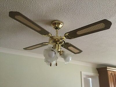 2 X Brass and Wood Ceiling Fan Lights with Variable Speeds