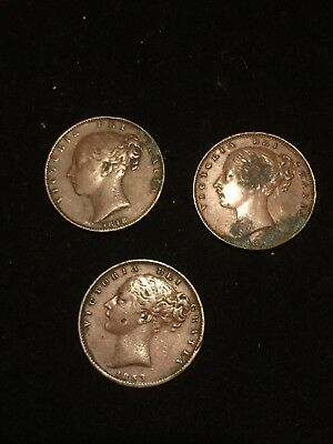 Three Victoria Young Head Farthings