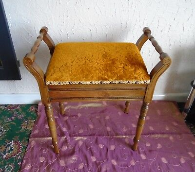 Piano Stool, Pale Mahogany, Old Gold Seat, Storage Space, Edwardian
