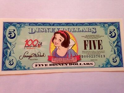 2002 $5 Disney Dollars Snow White-100 Years of Magic *NEW* *Uncirculated* D000