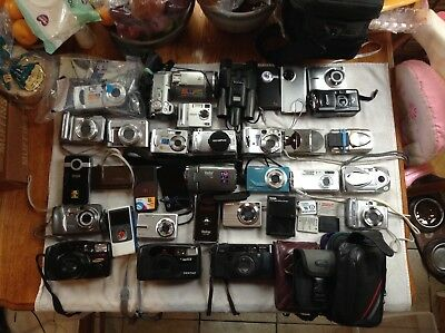 Lot of 30 Assorted Digital Cameras 3 35mm Cards, batts Tested all work great LOT