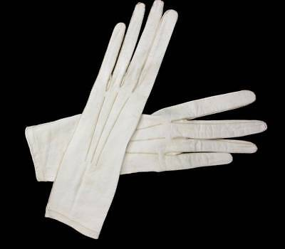 antique edwardian cream kid leather gloves size 7 Fownese