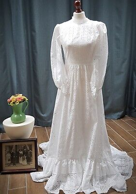Vintage White Broderie Anglaise Wedding Dress
