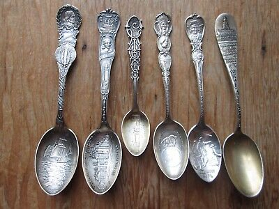 6 Antique STERLING - AMERICAN - Misc WORLDS FAIR SOUVENIR SPOONS