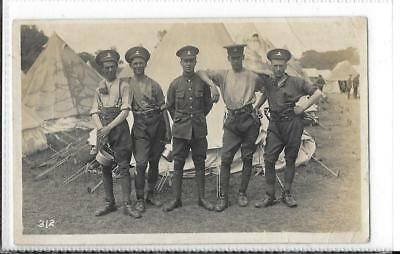 WW1 Photographic Postcard Royal West Kent Rgt. 5 Soldiers at Camp