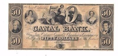 1800's $50 Canal Bank New Orleans Louisiana Civil War Era Obsolete Currency
