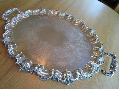 "Vintage Reed Barton Large-Silverplate Tray-19.5""x28.75""beautiful Border-Excl****"